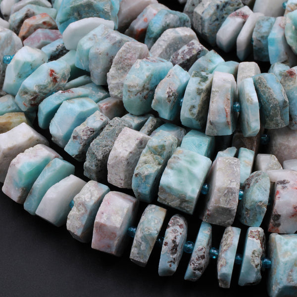 "Huge Large Natural Blue Larimar Heishi Wheel Disc Rondelle Bead Center Drilled Slice Raw Rough Hand Chiseled Organic Cut 16"" Strand"