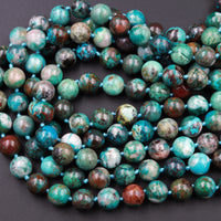 "Arizona Chrysocolla Round Beads AAA High Quality Natural Green Blue Chrysocolla 10mm 12mm Highly Polished Gemstone Beads 16"" Strand"