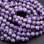 "Natural Charoite 6mm 8mm 10mm 12mm 14mm 16mm Round beads 16"" Strand"