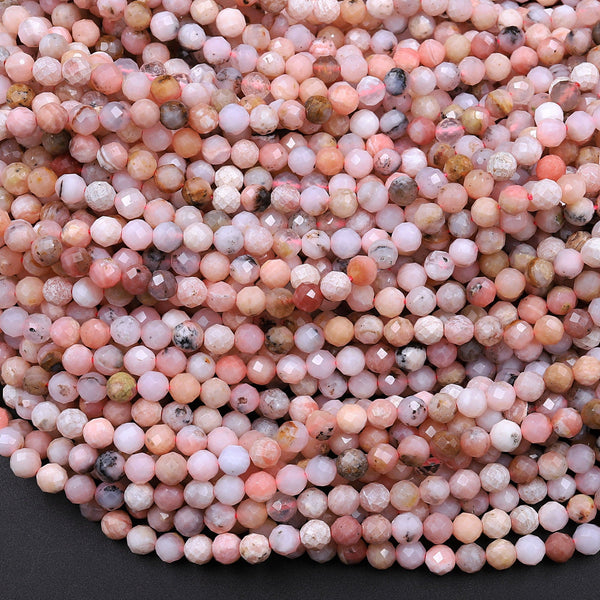 "Natural Peruvian Pink Opal Beads 3mm 4mm 5mm Faceted Round Micro Faceted Laser Diamond Cut Pink Gemstone 16"" Strand"
