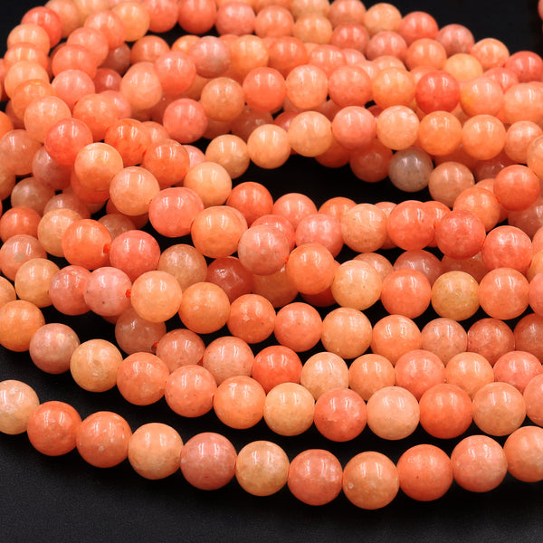 "Genuine Natural Peach Orange Calcite Beads 6mm 8mm 10mm Round Smooth Plain Gemstone 15.5"" Strand"