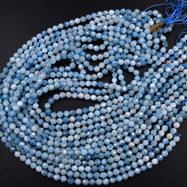 "Micro Faceted Natural Blue Aquamarine 5mm Faceted Round Beads Laser Diamond Cut Extra Intense Blue Birthstone Gemstone 16"" Strand"