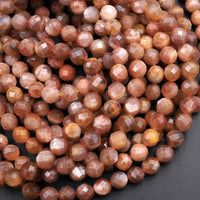 "Natural Sunstone Faceted 6mm 8mm Round Beads High Quality A Grade With Glittering Feldspar Fiery Golden Orange Brown Gemstone 16"" Strand"