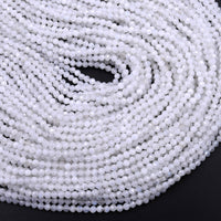 "White Rainbow Moonstone 2mm 3mm 4mm 5mm Faceted Round Beads 16"" Strand"