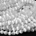 "AAA Natural Selenite 6mm 8mm 10mm Round Beads High Quality Real Genuine Natural Selenite Gemstone 16"" Strand"