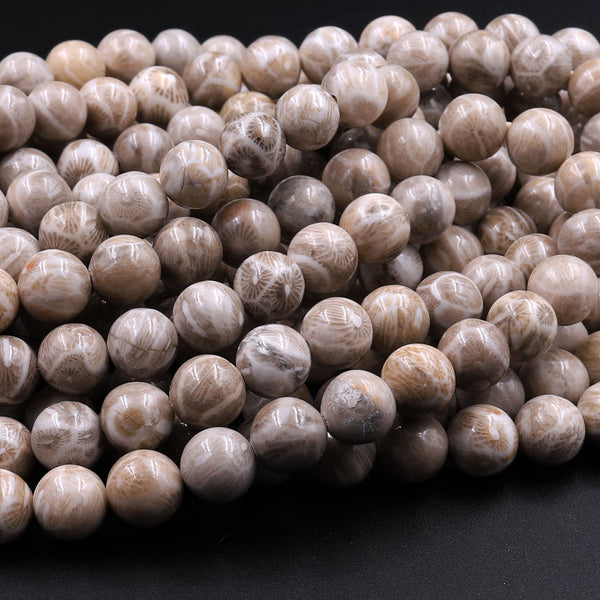 "A+ Natural Michigan Petoskey Stone Fossil Coral Round 6mm  8mm 10mm 12mm Round Beads Earthy Gray Brown Tan Beige Beads 16"" Strand"