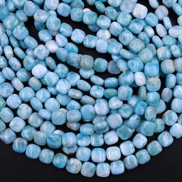 "AA Natural Blue Larimar Square 8mm 10mm Beads Puffy Cushion High Quality Genuine Blue Larimar Gemstone Good For Earrings 16"" Strand"
