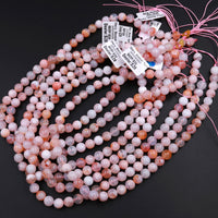 "Natural Cherry Blossom Agate Beads 6mm 8mm 10mm Translucent Pink Peach Creamy White High Polish Beads 16"" Strand"