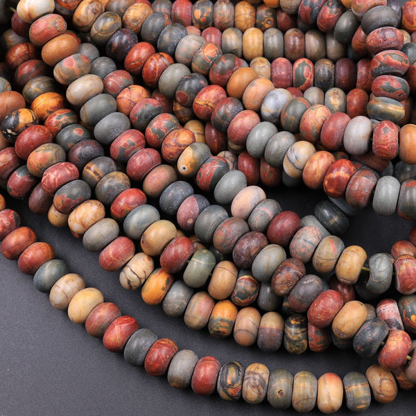 "Red Creek Jasper Large Matte Rondelle Bead 10mm 12mm Red Green Yellow Brown Natural Cherry Creek Multi Color Picasso Jasper 16"" Strand"