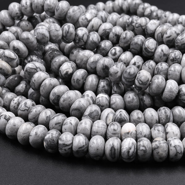"Gray Crazy Lace Jasper Aka Map Stone Jasper 6mm 8mm 10mm Rondelle Beads 16"" Strand"