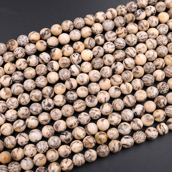 "Faceted Graphic Feldspar 6mm 8mm 10mm Round Beads Earth Tones Beads 16"" Strand"
