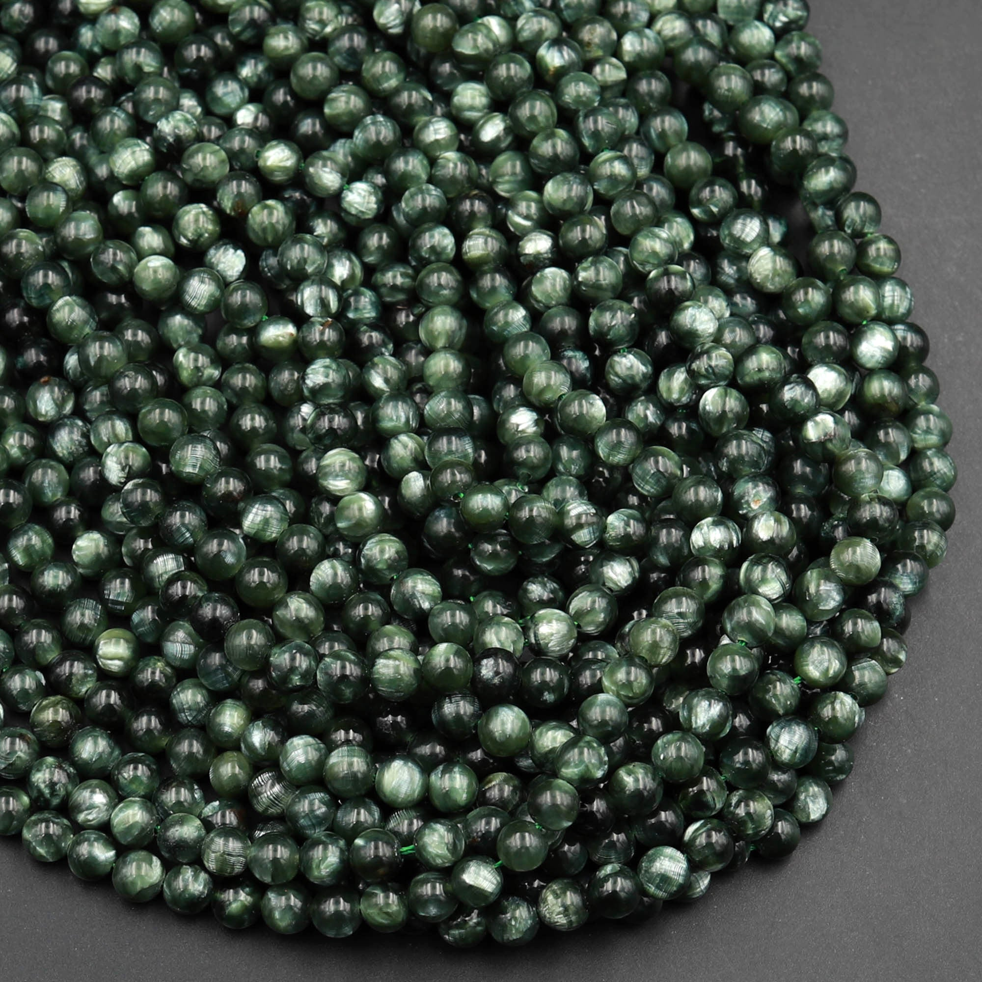 "AAA Russian Seraphinite Smooth Round Beads 3mm 4mm 6mm 8mm Real Genuine Green Gemstone 15.5"" Strand"
