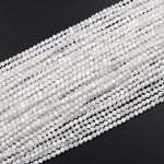 "Faceted White Mother of Pearl Shell Round Beads 2mm 3mm 4mm Laser Diamond Cut Iridescent Pearl Gemstone 16"" Strand"