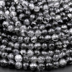 "Black Tourmaline Rutilated Rutile Quartz Round Beads 4mm 6mm 8mm 10mm 15.5"" Strand"