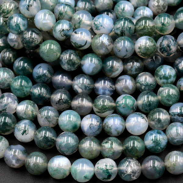 "AAA Natural Green Moss Agate Round Beads 4mm Round Beads 6mm Round Beads 8mm Round Beads Green Gemstone High Polish Spheres 16"" Strand"