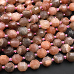 "AAA Multicolor Peach Gray Moonstone 10mm Beads Faceted Energy Prism Double Terminated Point Cut 15.5"" Strand"
