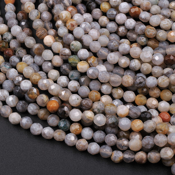 "Faceted Bamboo Agate 4mm Round Beads Small Natural Grey Yellow Green Agate 16"" Strand"