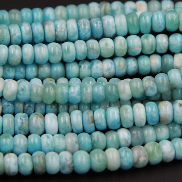 "Natural Blue Larimar A Grade 8mm 9mm Smooth Rondelle Beads 16"" Strand"