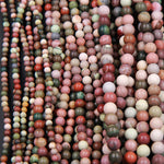 "Real Genuine Natural Mexican Imperial Jasper 4mm 6mm 8mm Matte Finish Round Beads 16"" Strand"