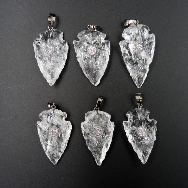Natural Rough Raw Rock Crystal Quartz Pendants With Druzy Center Hand Hammered 1 1/2 Inch Arrowhead Pendant Focal Bead