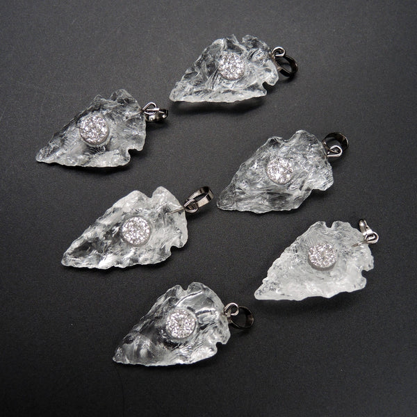Natural Rough Raw Rock Crystal Quartz Pendants With Silver Druzy Inlay Hand Hammered 1 Inch Arrowhead Pendant Focal Bead