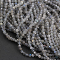 "Bargain! Micro Faceted Tiny Natural Labradorite 2.5mm Round Beads 2mm 3mm  Faceted Round Beads 16"" Strand"