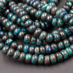 "Rare Natural Shattuckite Rondelle 6mm x 4mm  Beads Natural Chrysocolla Azurite Rondelle Gemstone 16"" Strand"