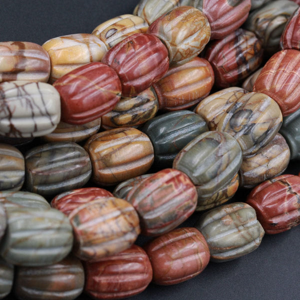 "Red Creek Jasper Beads Hand Carved Melon Drum Tube Earthy Red Green Yellow Brown Natural Cherry Creek Multi-color Picasso Jasper 16"" Strand"