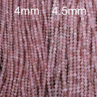 "Micro Faceted Small Natural Madagascar Pink Rose Quartz 4mm Round Beads 4.5mm Faceted Round Diamond Cut Pink Gemstone 16"" Strand"