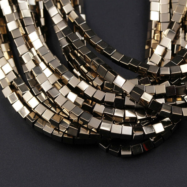 "Titanium Pyrite 2mm 3mm 4mm Square Cube Dice Beads Plain Cubes High Quality Sparkling Pyrite Natural Gemstone Beads 16"" Strand"
