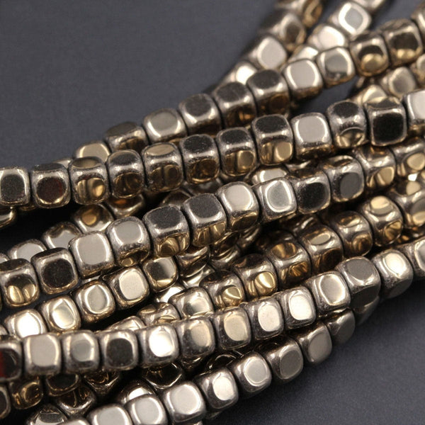 "Titanium Pyrite 2mm 3mm 4mm Square Beads High Quality Rouned Plain Cube Dice Sparkling Pyrite Natural Gemstone Beads 16"" Strand"