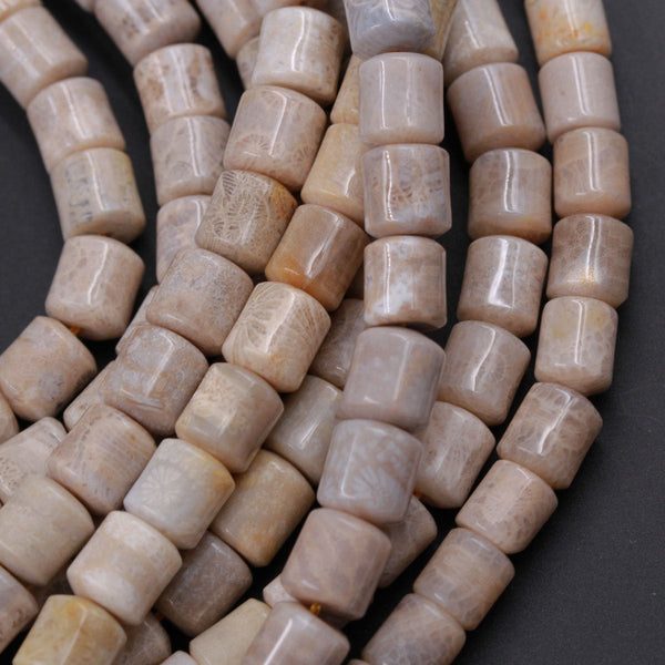 "A Grade Natural Fossil Coral Short Cylinder Beads 8mm Puffy Nugget Beads Neutral Gray Taupe Beige Beads 16"" Strand"