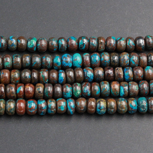 "Rare Natural Arizona Shattuckite Rondelle 6mm 6x4mm Beads Natural Green Chrysocolla Blue Azurite Red Iron Rondelle Gemstone 16"" Strand"