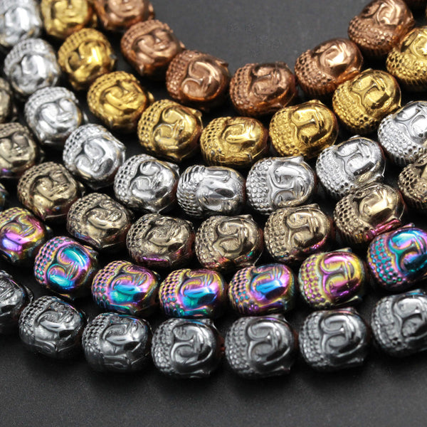 "Titanium Hematite Carved Buddha Bead Beads 10mm Shiny Metallic Bronze Gold Gunmetal Black Silver Rainbow Champagne Colors  8"" Strand"