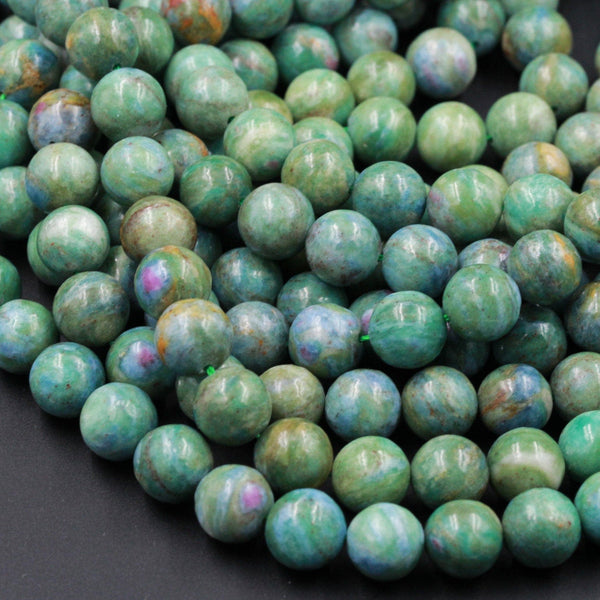 "Natural Ruby Fuchsite Ruby Fuschite Beads 10mm Round Red Ruby in Green Blue Fuchsite Gemstone 16"" Strand"