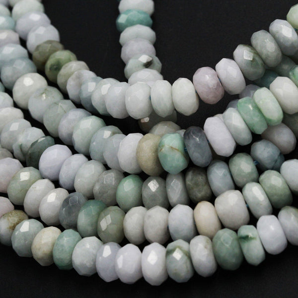 "Natural Green Burma Burmese Jade 8mm 10mm 12mm Faceted Rondelle Beads Large Center Drilled Disc Real Genuine Burma Jade 16"" Strand"