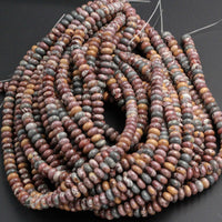 "Natural Sonora Dendritic Rhyolite 6mm Roundel Beads 8mm Rondelle Beads High Quality Rare Earthy Jasper From Mexico 16"" Strand"