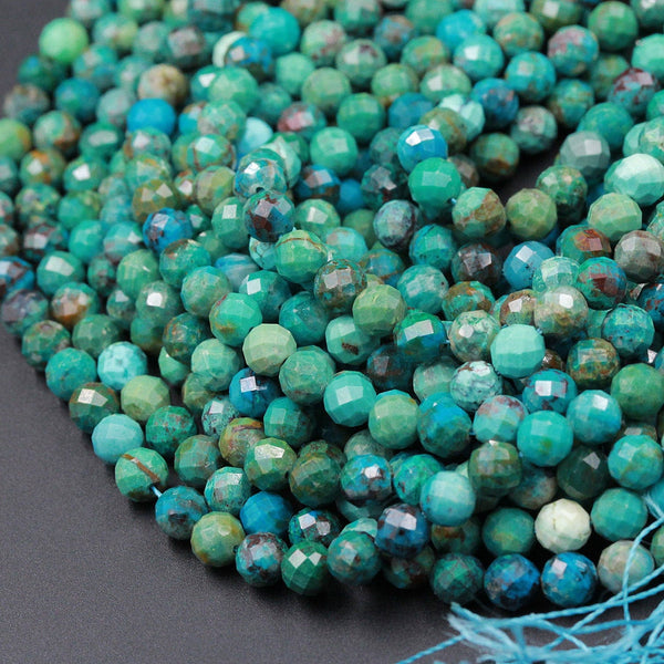 "Micro Faceted Natural Blue Green Chrysocolla Round Beads 5mm Faceted Round Beads Laser Diamond Cut Gemstone 16"" High Quality 16"" Strand"