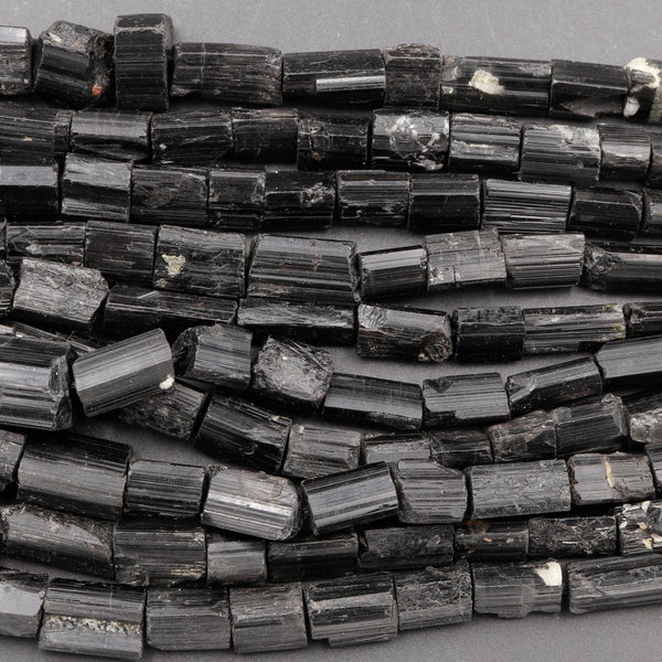 "Drilled Raw Natural Black Tourmaline Beads Nugget Real Genuine Black Tourmaline Crystal Gemstones Tube Stick Superior Quality 16"" Strand"
