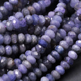 "Genuine Real Natural Tanzanite Faceted 6mm x 4mm Rondelle Beads Purple Blue Gemstone 16"" Strand"