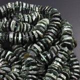 "Rare Natural Russian Seraphinite Heishi Wheel Disc Rondelle Beads Center Drillied Slice Raw Rough Hand Chiseled Organic Cut Beads 16"" Strand"