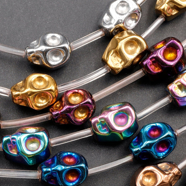 "Titanium Hematite Carved Skull Beads 10mm Shiny Metallic Purple Gold Gunmetal Black Silver Rainbow Blue Copper Colors  16"" Strand"