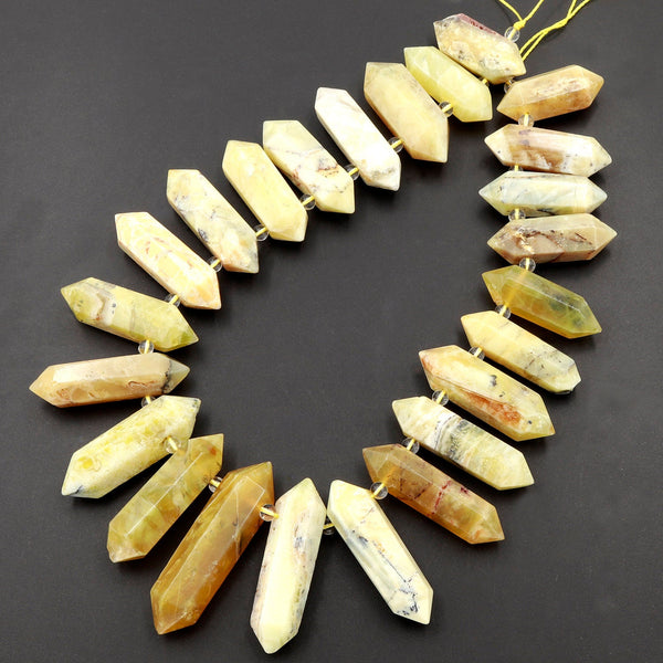 "Large Natural African Yellow Opal Beads Faceted Double Terminated Points Healing Focal Pendant Top Side Drilled Bicone Bullet 16"" Strand"