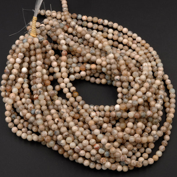 "Natural African Dendritic Opal Beads 6mm 8mm Round Beads Neutral Beige Creamy Taupe Sand Brown Color Opal Gemstone 16"" Strand"