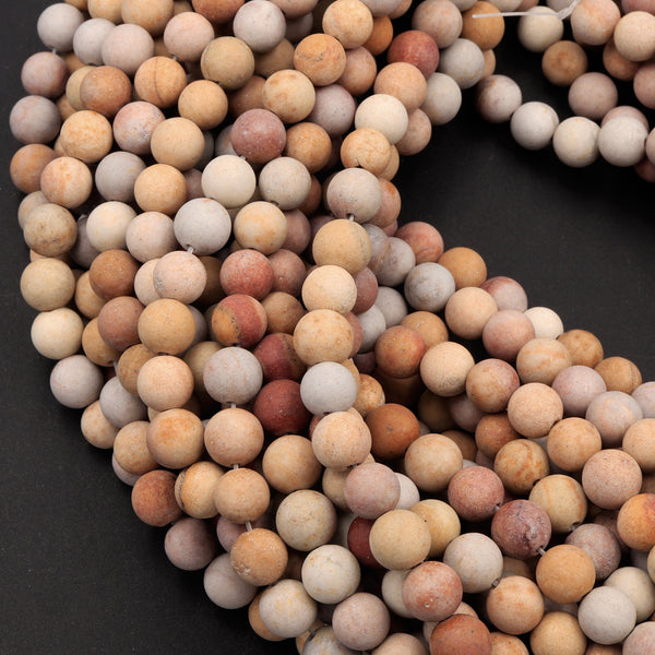 "Matte Finish Natural Rainbow Jasper Beads 6mm 8mm Round Earthy Red Yellow Beige Slate 16"" Strand"