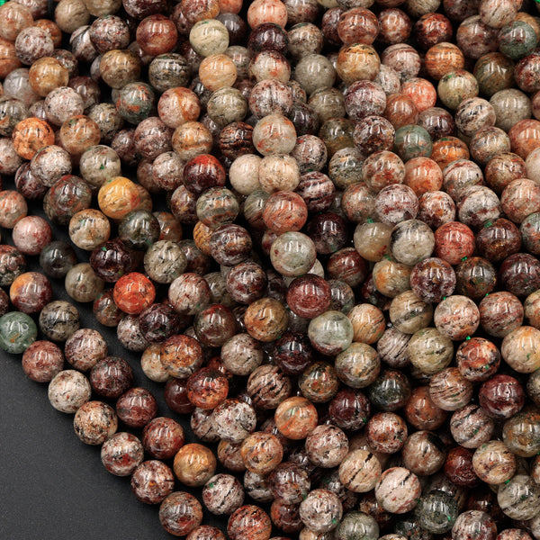 "A Grade Natural Phantom Quartz Beads Lodalite Beads 6mm 7mm  8mm Full of Red Green Yellow Brown Copper Bronze Minerals Matrix 16"" Strand"