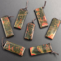 Natural Red Creek Jasper Pendant Side Drilled Flat Rectangle Pendant Natural Multi Color Picasso Jasper Cherry Creek
