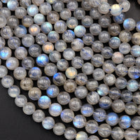 "Flashy Labradorite 4mm 5mm 6mm Round Beads High Quality A grade Blue Golden Natural Labradorite 16"" Strand"