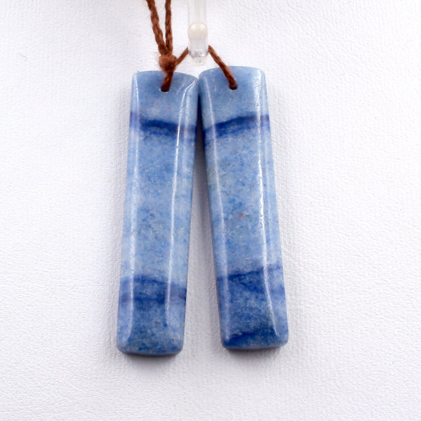 Drilled Natural Blue Aventurine Earring Pair Long Rectangle Cabochon Cab Pair Drilled Matched Earrings Bead Pair