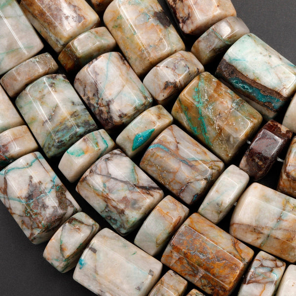 "Rare Chrysocolla in Quartz Beads Large Faceted Cylinder Barrel Drum Tube Nuggets Rare Unusual Gemstone From Arizona 16"" Strand"